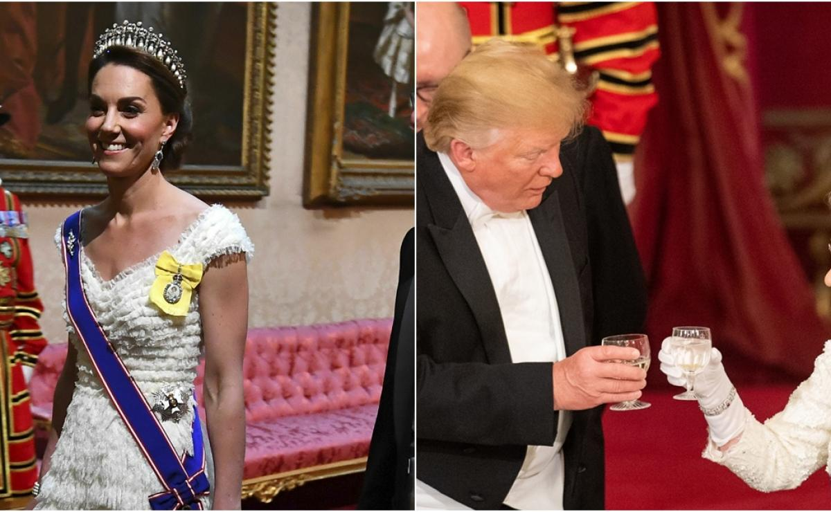 cena reina isabel donald trump, donald trump palacio buckingham, donald trump meghan markle, kate middleton orden, kate middleton donald trump